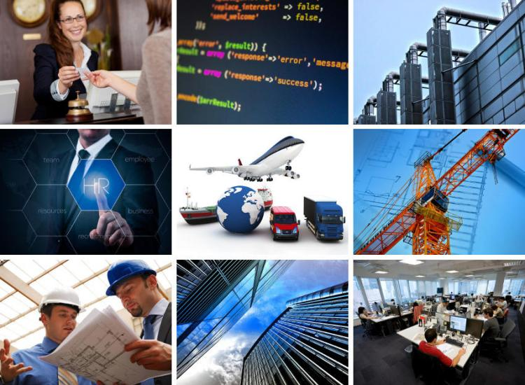 Collage of job category symbolic images